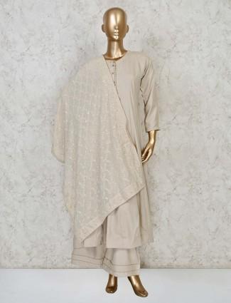 Latest beige festive wear cotton anarkali suit