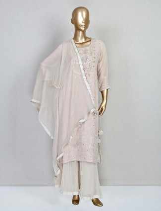 Latest beige georgette palazzo suit for festival
