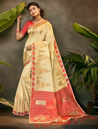 Latest beige silk party wear saree