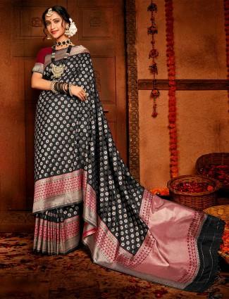 Latest black colour zari work saree for wedding
