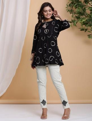 Latest black cotton causal wear printed pant suit