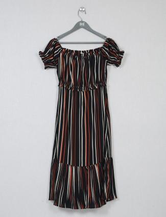 Latest black striped poly cotton dress
