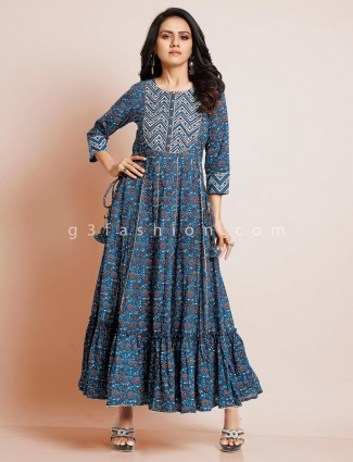 Latest blue printed cotton kurti