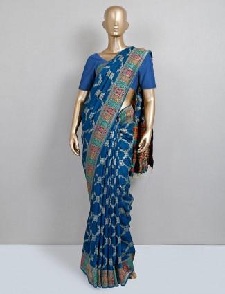 Latest blue wedding saree desing in dola silk