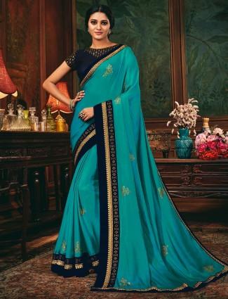 Latest blue wedding saree in cotton silk
