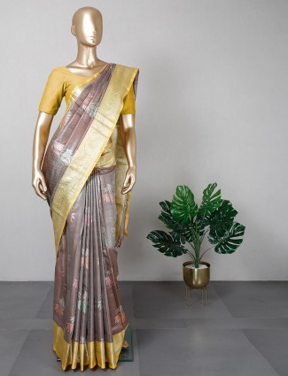 Latest brown banarasi cotton silk festive saree