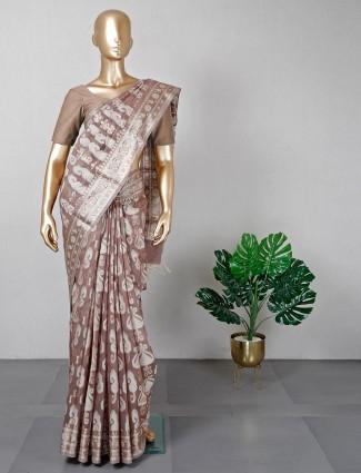 Latest brown banarasi cotton silk saree for festives