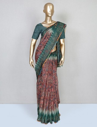 Latest brown printed festive wear saree in cotton