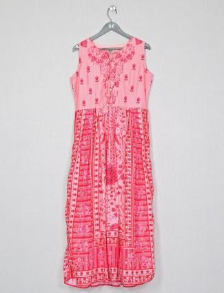 Latest casual wear pink cotton kurti for women