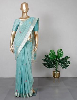 Latest designer aqua cotton festive wear saree