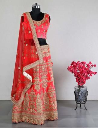 Latest designer magenta silk wedding unstitched lehenga choli