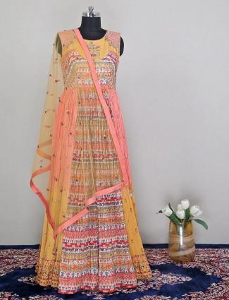 Latest designer peach wedding wear floor length anarkali suit