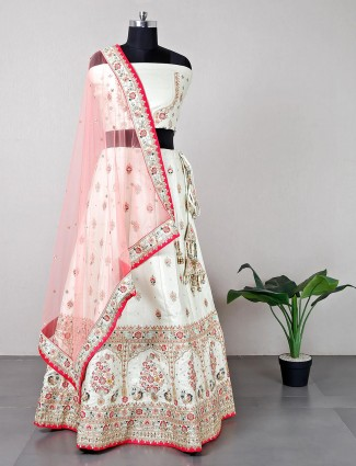 Latest designer off white raw silk wedding wear semi stitch lehenga