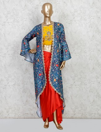 Latest designer red silk jacket style salwar suit for party