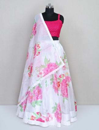 latest designer white printed wedding lehenga choli