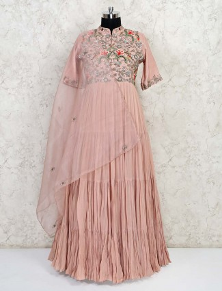 Latest floor length peach georgette gown
