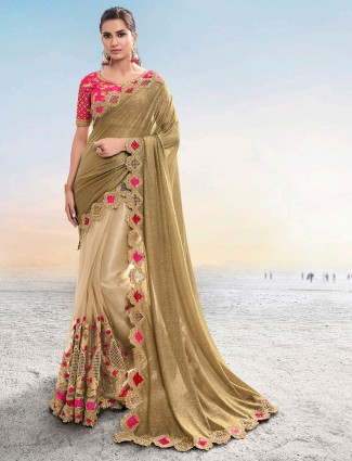 Latest gold coloured net and lycra saree for wedding