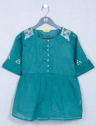 Latest green casual top in cotton