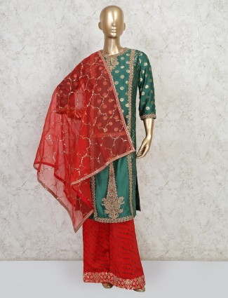 Latest green colour palazzo suit for wedding