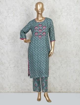 Latest green cotton kurti sets for festive