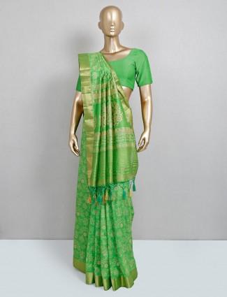 Latest green cotton silk festive wear sari
