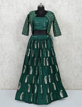 Latest green cotton wedding lehenga choli