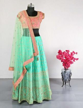 Latest green raw silk wedding wear lehenga choli