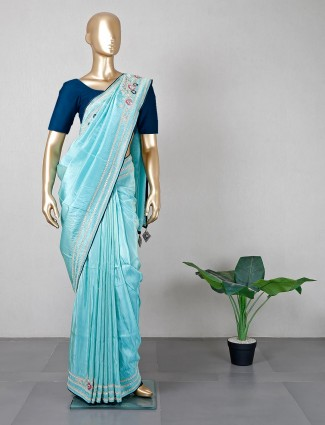 Latest aqua silk saree for wedding occasions