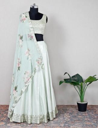 Latest green silk wedding wear lehenga choli