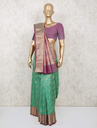 Latest green south pure silk saree for reception