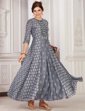 Latest grey colour festive wear cotton kurti