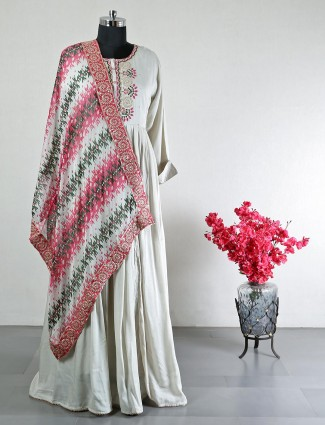 Latest grey cotton salwar kameez for women