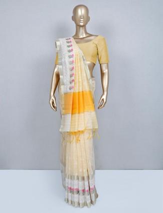 Latest lemon yellow cotton saree for wedding