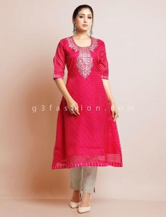 Latest magenta cotton festive wear kurti
