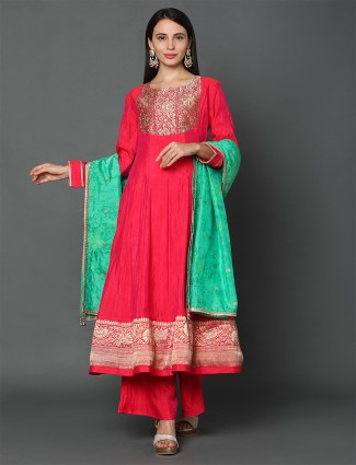 Latest magenta punjabi salwar suit for festive