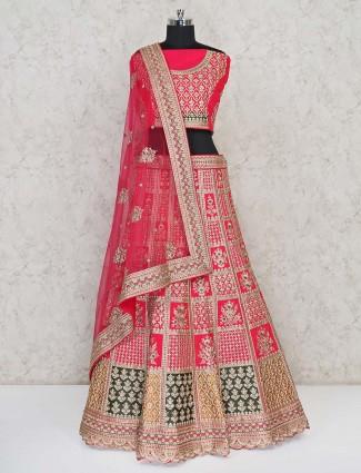 Latest magenta wedding wear silk lehenga