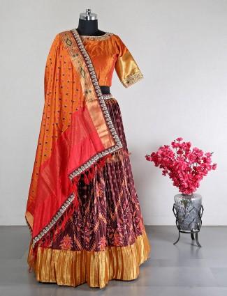 Latest maroon designer raw silk lehenga choli