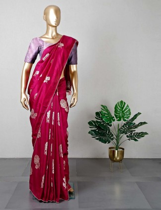 Latest maroon silk wedding wear saree