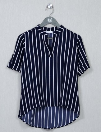 Latest navy cotton casual wear top