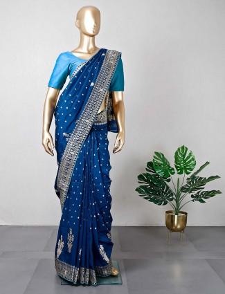 Latest navy cotton silk wedding saree
