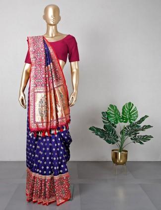 Latest navy cotton silk wedding special saree