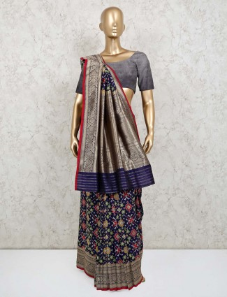 Latest navy wedding saree in patola silk