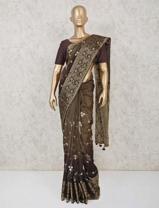 Latest olive and brown dola silk saree with gota work