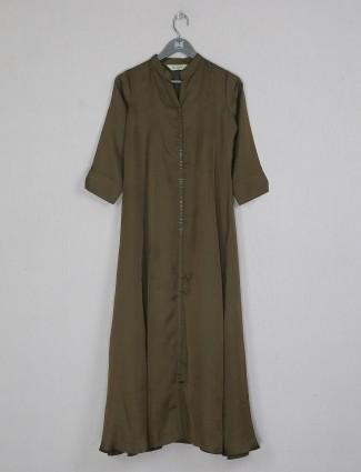Latest olive raw silk kurti for women