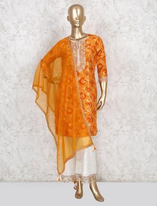 Latest orange bandhej printed palazzo set