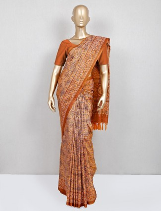 Latest orange cotton festive saree