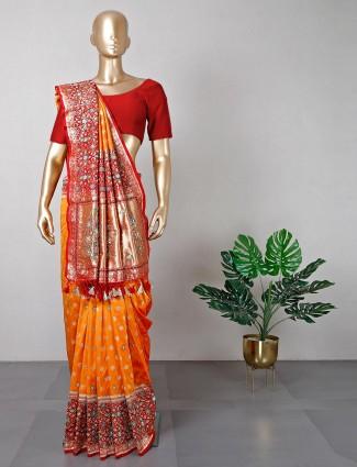 Latest orange cotton silk wedding saree