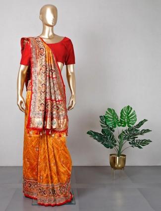 Latest orange cotton silk wedding sarees