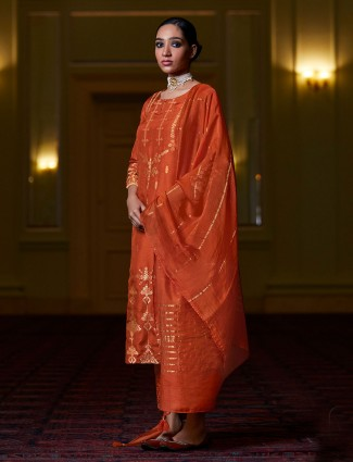 Rust orange punjabi cotton pant style suit