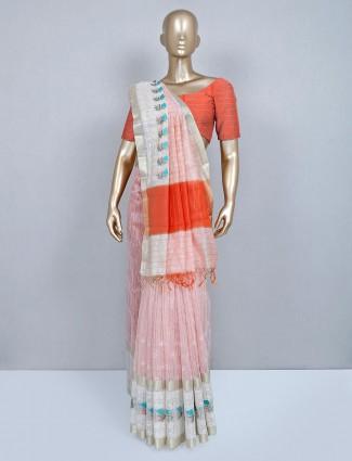 Latest peach designer cotton wedding wear saree